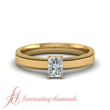 3/4 Ct Certified Radiant Diamond Two Sided Milgrain Solitaire Engagement Ring