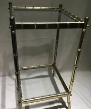 Vintage MCM Hollywood Regency Faux Bamboo Brass Table w/Glass Top & Shelf