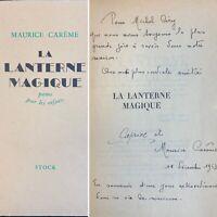 🌓 MAURICE CARÊME La Lanterne Magique 1950 envoi autographe signé à MICHEL CIRY