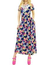 abito vestito donna lungo floreale  scollo pizzo nero taglia unica one size