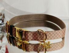 LaGucci Classic Lattice GOLD Metal BUCKLE Dog COLLAR 16.5-19.5 in. Rt.$72🍀 🐕