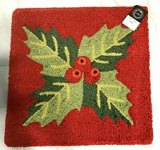 Christmas Mistletoe Holiday Pillow Zipper Cover 18 X 18 Red Green Hooked