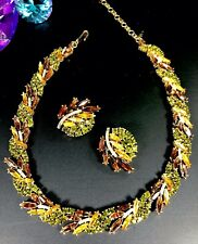 RARE CROWN TRIFARI TOPAZ AMBER NAVETTE RHINESTONE FLORAL NECKLACE EARRINGS SET