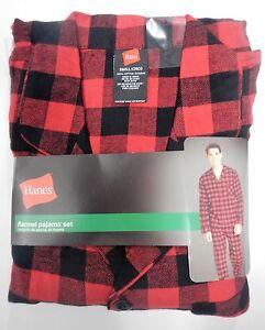 Hanes Mens 2pc Cotton Red & Black Buffalo Plaid Flannel Pajama Set SMALL