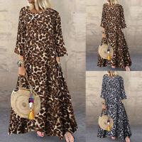 Mode Femme Ample Casual Imprimé léopard Col Rond Manche Longue Robe Dresse Plus