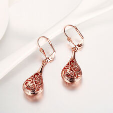 18K Rose Gold Plated Filigree Teardrop Lever Back Drop Dangle Earrings L130