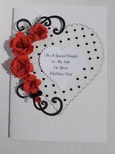 Personalised Handmade Luxury Birthday/Anniversary/Ruby Wedding Card Red Roses