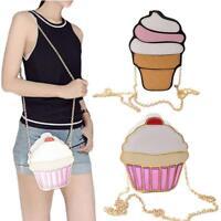 Damen 3D Eis Schulter Handtasche Kette Crossbody Reißverschluss Kupplung