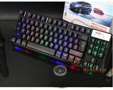 P18 87 Keys Colorful Rainbow Backlit PC Gamer Ergonomic Usb Gaming Keyboard UK