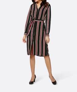 Kleid Création L Hendblusen Kleid schwarz rot weiß gestreift knielang  40 42 44