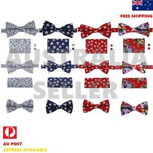 Men's Bow Tie Party Cotton Floral Bowtie Hanky Cufflinks Set D.Smith CCOA/P/Q7