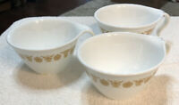 3 Vintage Gold Butterfly Coffee Tea Cups C Handle Corning Corelle Pyrex