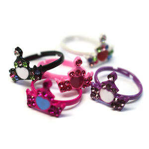 KIDS PINK PRINCESS CROWN RINGS PARTY BAG FILLERS GIRLS- Choose your Quantity R8