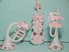 Shabby Christmas Chic Ornament Decoration Pink Musical Instruments