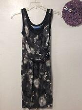 Ladies dress SIMPLY VERA size XS black gray faux wrap sleeveless Y12
