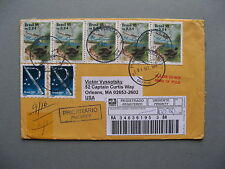 BRASIL/BRAZIL, R-cover to the USA 2003, strip of 5 bird heron