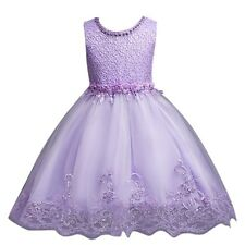 Flower Girls Floral-Embroidered Pearl Embellished Purple Evening Dress Up Size 3