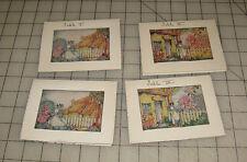 "4 Vintage ""Lady in Garden of Cottage"" Design BRIDGE TALLY CARD Booklets"