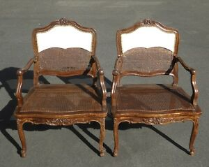 Pair Vintage French Provincial Country Style Carved Wood & Cane Accent Chairs ..