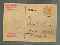1946 Frankfurt Germany Censored Postcard Cover to Berlin AMG Stamps