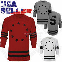 Mens Crewneck Cotton Sweatshirt Pullover Sweater Casual Graphics Long Sleeve New
