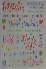 PaperCraft Rub On's Glitter Words Card & Scrapbooking Congrats Thanks Lovely