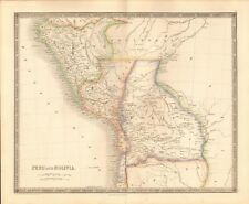1843 ANTIQUE MAP- TEESDALE/DOWER - SOUTH AMERICA - PERU AND BOLIVIA