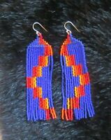 Blue Southwest Earrings Hand Made Glass Seed Bead Boho Style Fringe Earrings