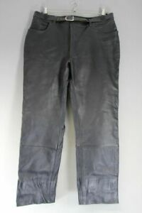 HEIN GERICKE BLACK LEATHER BIKER JEANS: WAIST 38 INCHES/INSIDE LEG 32 INCHES