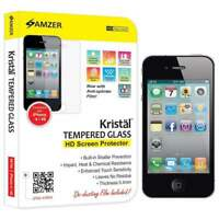 AMZER KRISTAL REAL HD TEMPERED GLASS FILM SCREEN PROTECTOR FOR APPLE iPHONE 4 4S