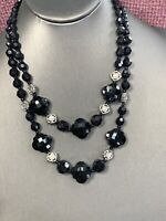 Black Two Strand Glass Crystal Bead Layered 2 Strand Necklace Black Clear