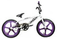 "Rooster Big Daddy Kids 20"" Skyway Mag Wheels BMX Bike Gyro White Purple RS62"