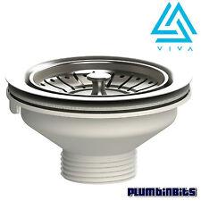 """Viva 114mm Stainless Steel Basket Strainer Sink Waste & Plug 1-1/2"""" 40mm Outlet"""