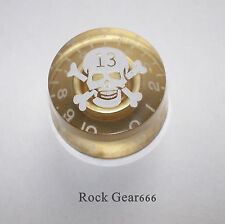 1 x Gold + blanco cráneo Perilla de velocidad para adaptarse a una Les Paul/SG guitarra eléctrica
