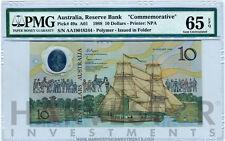 1988 AUSTRALIA $10 BANKNOTE POLYMER BICENTENNIAL - CERTIFIED PMG 65 EPQ GEM UNC