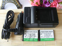 2x Battery +Charger for Fujifilm fuji NP-45S NP45S Finepix XP120 Digital Camera