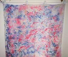 "NWOT White Blue Pink 100% Pure Silk Shawl Scarves  Wraps 34"" X 34"""