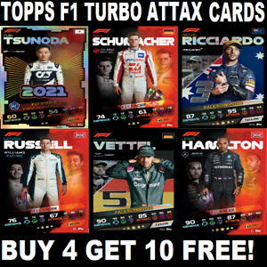 Topps Turbo Attax 2021  F1 FORMULA 1 ☆ BASE CARDS #1-254 ☆ BUY 4 GET 10 FREE!