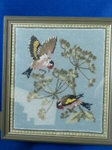 Original Woolwork by V.Thorne of Goldfinches feeding
