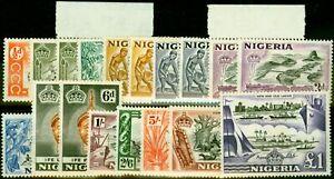Nigeria 1953-58 Extended Set of 18 SG69-80 Fine Lightly Mtd Mint CV