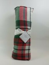 "Pottery Barn Denver Plaid Holiday Christmas Throw Blanket Red 60"" #2714"