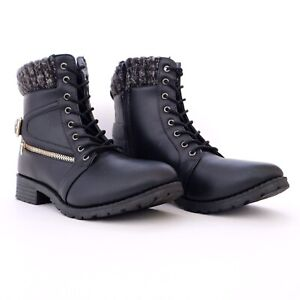 CHARLOTTE RUSSE Size 10 FAUX LEATHER BUCKLE BLACK COMBAT BOOTS ANKLE BOOTIES