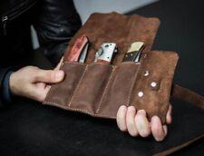 Leather pocket knife roll, pocket knife holder, Pocket knife pouch, knife sheath