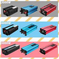 Power Inverter 3000W/4000W/5000W 12/24V to 110V/220V Sine Wave Camp Home Solar