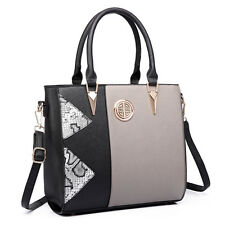 Women PU Leather Tote Snake Printed Stylish  Handbag Shoulder Bag Grey