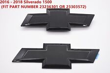 Custom Black Front & Tailgate Bowtie Emblem For 2016 - 2018 Silverado 1500