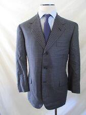OXXFORD CLOTHES custom bespoke blue plaid 3 three button blazer jacket 40R