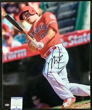 MIKE TROUT SIGNED 24X20 SUPER RARE THICK STOCK PHOTO AUTOGRAPH AUTO BAS BECKETT