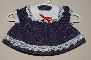 Handmade Vintage Doll Dress Navy Blue Dress with Red Ribbon and Bloomer Set