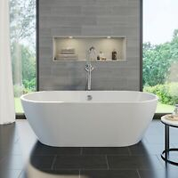 1650 Luxury Modern Freestanding Bath Double Ended Built in Waste White Acrylic